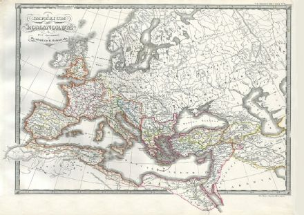 1850 Map of the Roman Empire as Divided into East and West (Ancient Rome)  Fine Art Print.  (004184)
